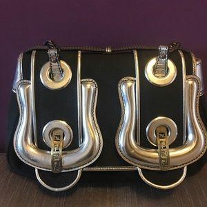 Fendi B bag black and silver